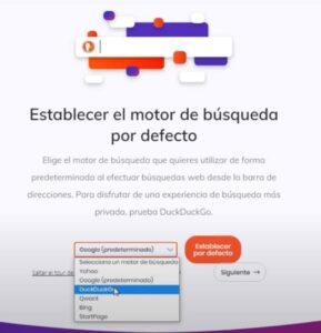Descargar Brave Windows - Motor búsqueda por defecto