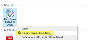 Descargar brave Windows - Ejecutar como administrador