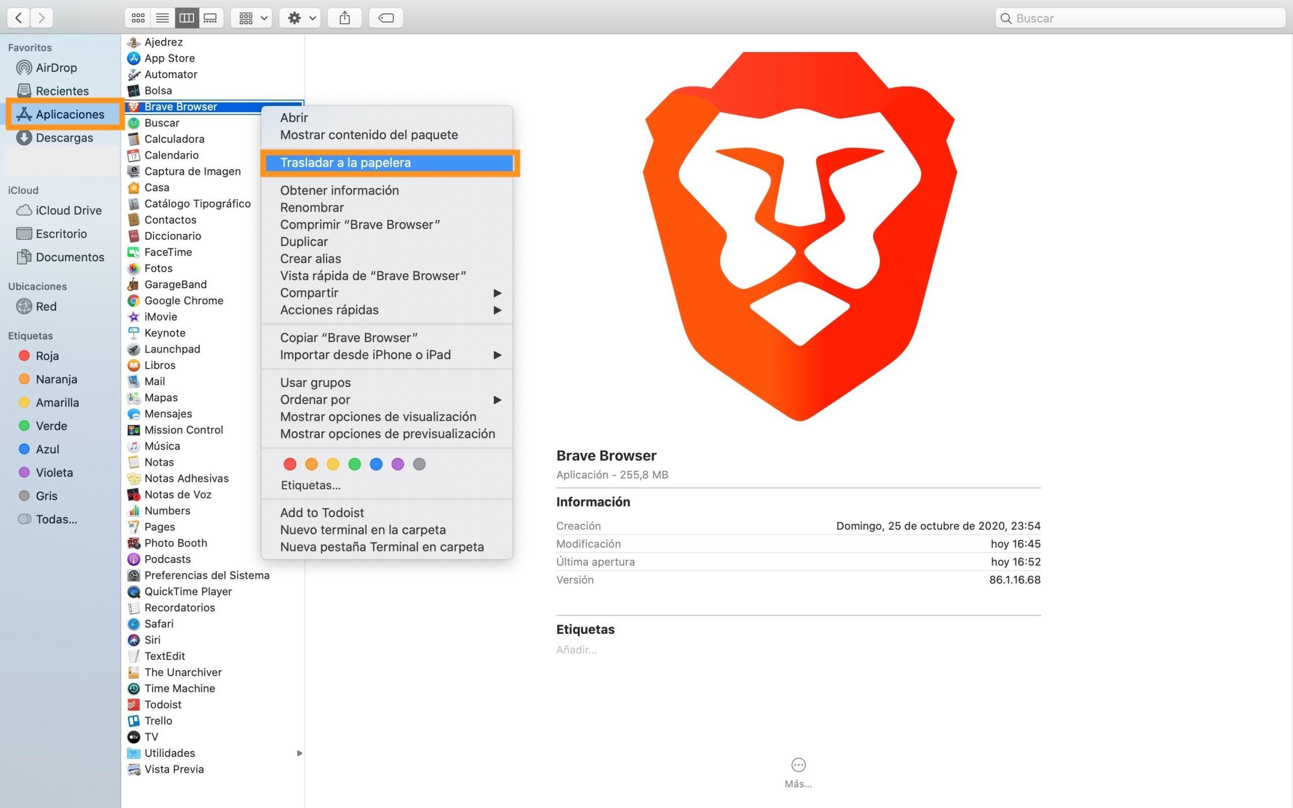 Desinstalar brave en Mac