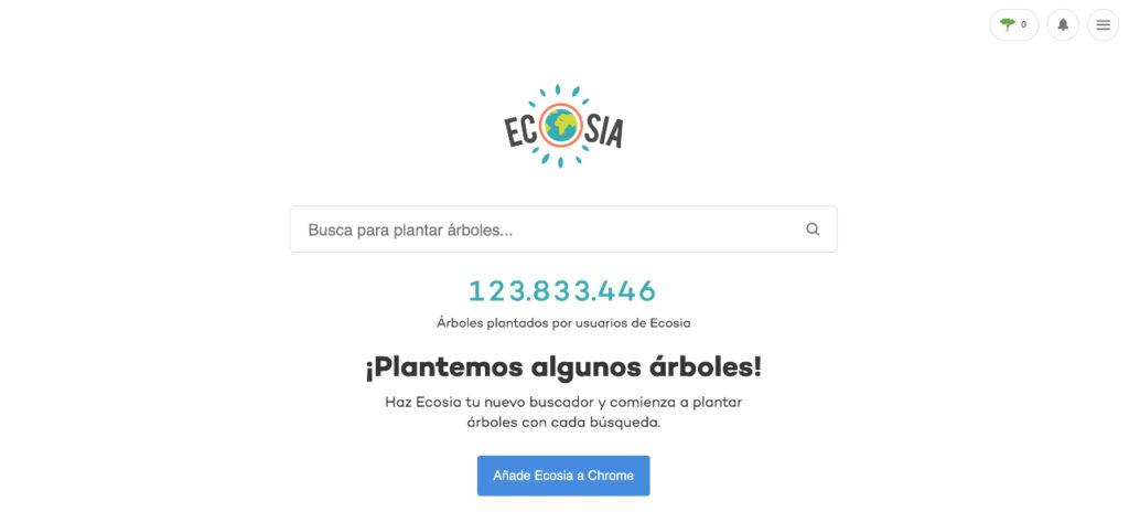 Mejores buscadores Ecosia