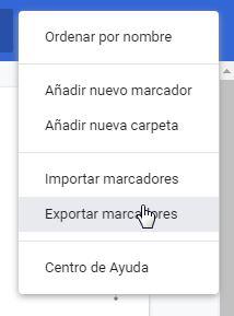 Exportar marcadores Chrome