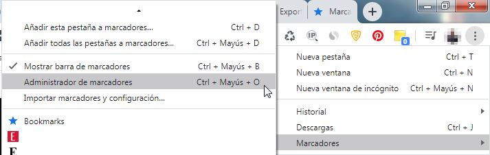 Exportar marcadores Chrome para importar en otro navegador