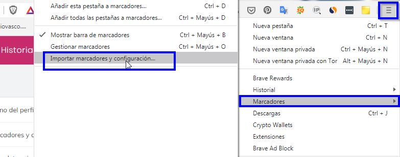 Brave, importación de extensiones Chromium
